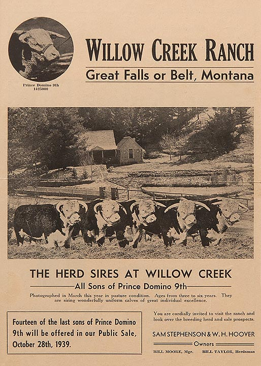 Brochure advertising Willow Creek Bull sale 1939; Stephenson Cabin in background